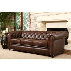 Tufted Brown Leather Sofa Magazin Canapele 4 You Shop Abbyson Vista Distressed Italian Chesterfield
