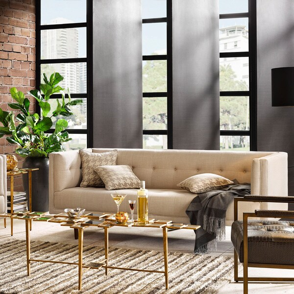 tribecca home knightsbridge beige linen tufted scroll arm chesterfield sofa sure fit stretch leather 2 piece t slipcover brown ink+ivy davis