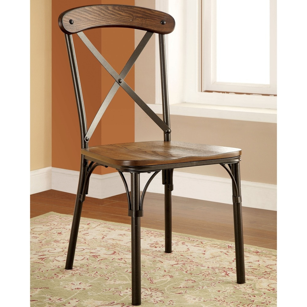 Shop Furniture Of America Tel Industrial Bronze Dining Chairs Set Of 2 On Sale Overstock 9964761