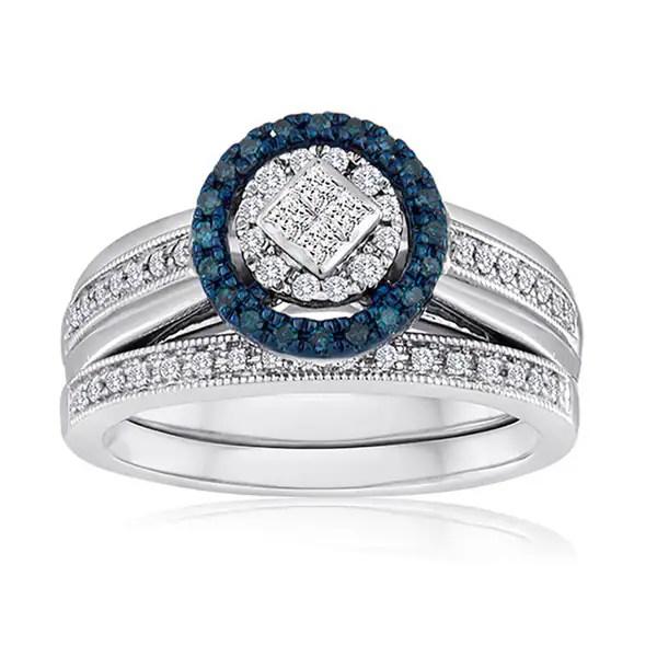 Shop Platinaire 3/8ct TDW Blue and White Diamond Bridal