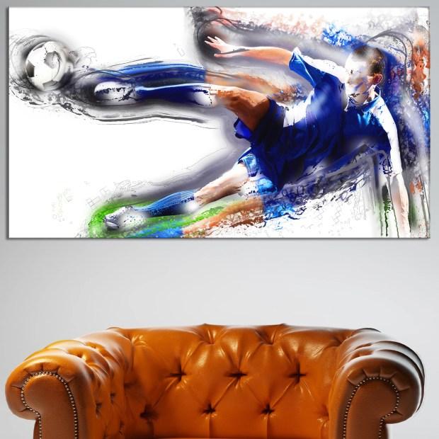 Design Art 'Soceer Big Kick' Canvas Art Print - 32 in. wide x 16 in. high