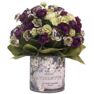 Purple and White Ranunculus Silk Flowers in French 'Violette' Labeled Glass Vase - CREAM