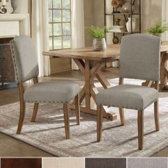 Dining Chairs Overstock Cafe Table And Outdoor Shop Benchwright Premium Nailhead Upholstered Set Of 2 By Inspire Q Artisan