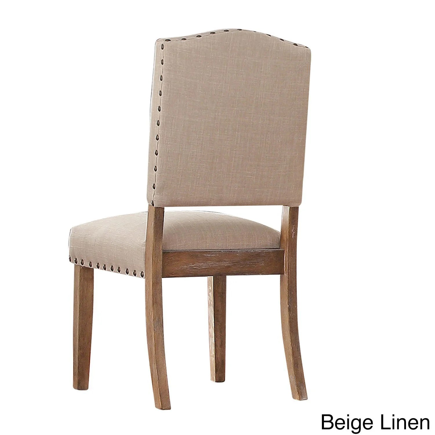 nailhead upholstered dining chair vintage yellow benchwright premium chairs set of 2 by beige