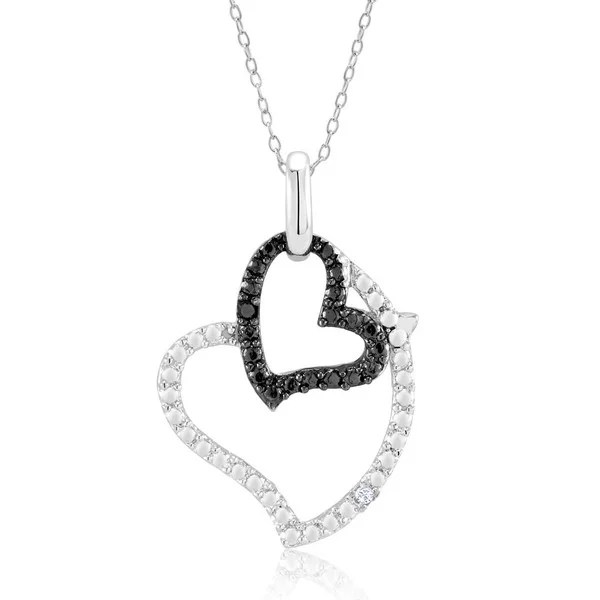 Shop Rhodium and Black IP Plated .10ct Diamond Accent