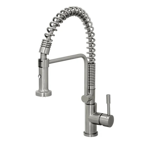 kitchen pull down faucet utensil holder shop geyser stainless steel commercial style coiled spring free shipping today overstock com 9984861