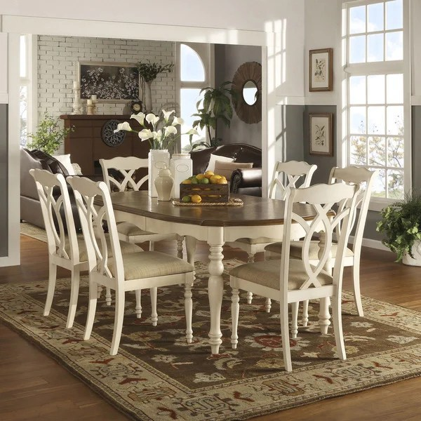 antique white dining chairs fishing chair bed uk shop shayne country two tone extending set by inspire q classic