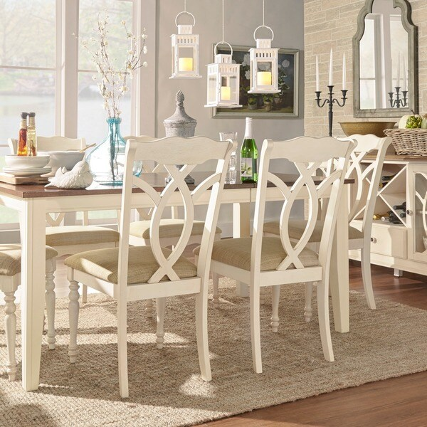 beige dining chairs crushed velvet chair cushions shop shayne country antique white set of 2 by inspire q classic