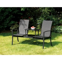 Two Seater Lawn Chair Cobalt Blue Covers Shop Havana Black Duo Seat With Attached Table Free Shipping Today Overstock Com 9987759