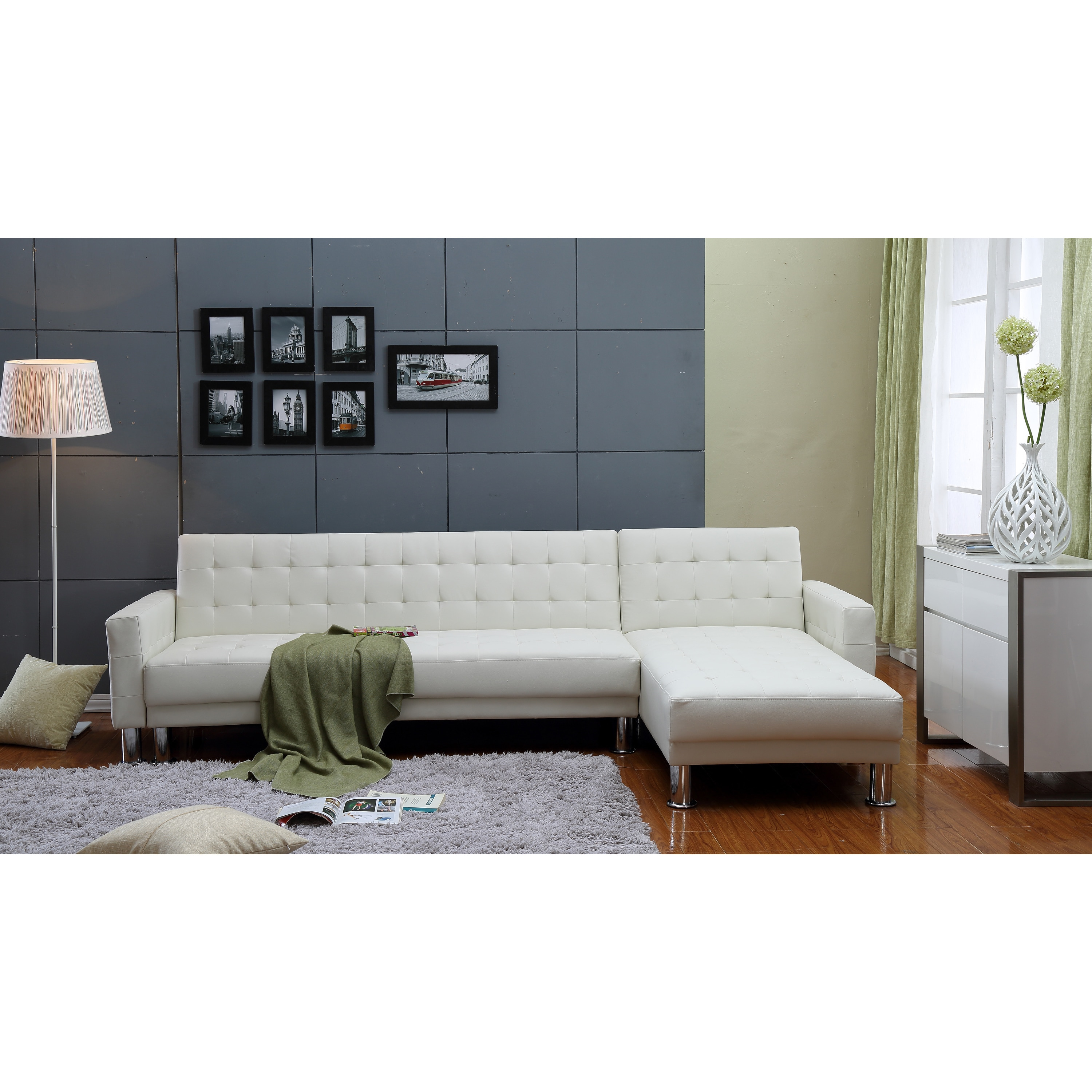 the hom marsden 2 piece white tufted bi cast leather sectional sofa bed