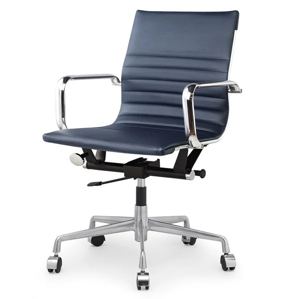 blue leather office chair wheelchair design shop m348 modern navy vegan on sale