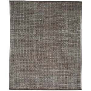 Taupe Modern Wool and Viscose From Bamboo Hand-knotted Oriental Area Rug (8' x 10')
