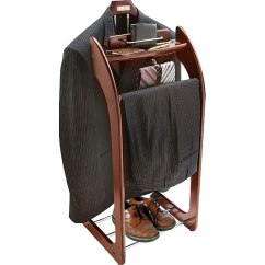Mens Valet Chair Ergonomic High Back Mahogany Finish Clothes Stand - Free Shipping Today Overstock 10101781
