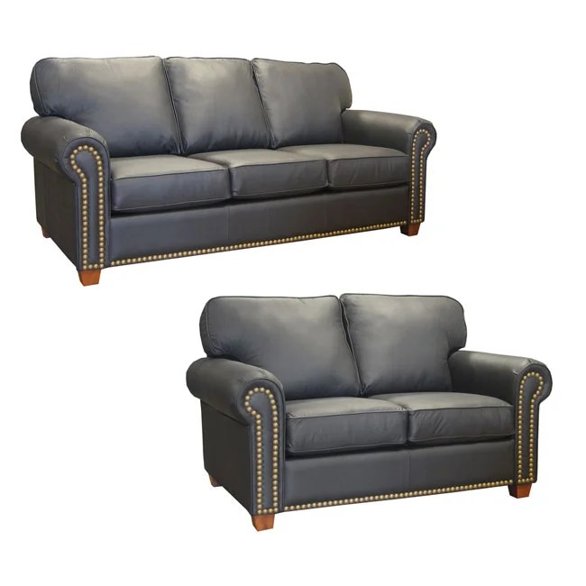 christopher knight leather chair blow up beach ebony studded sofa and loveseat - free shipping today overstock.com 10353307