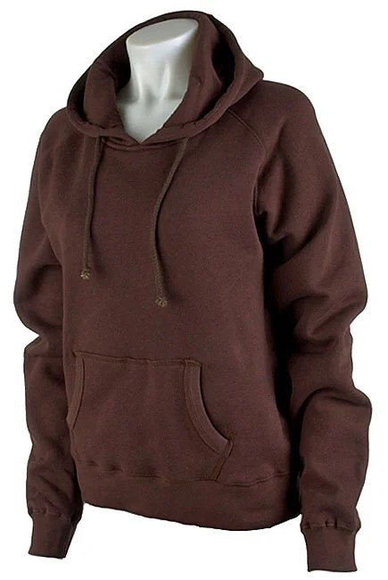 Plain Womens Brown Pullover Hooded Sweatshirt  Free