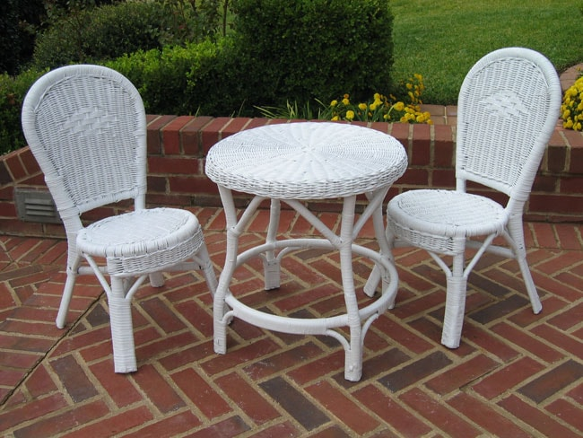 kidkraft white table and chairs office chair air cylinder children's wicker 3-piece bistro set - free shipping today overstock.com 10480122