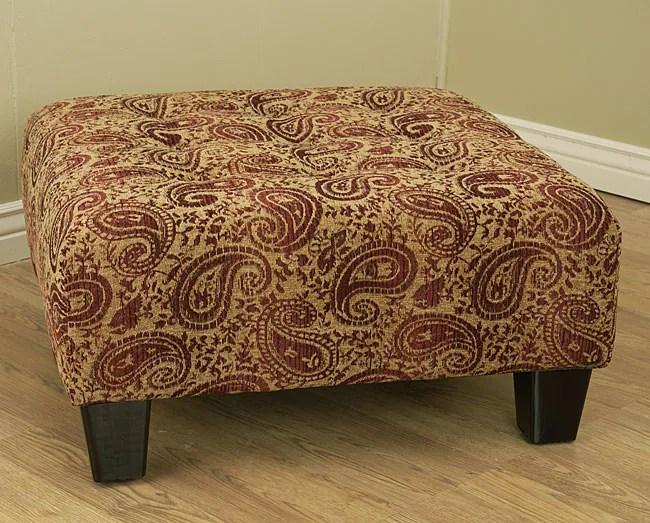 abbyson leather sofa designer malaysia paisley burgundy button-tufted cocktail ottoman - 10497640 ...