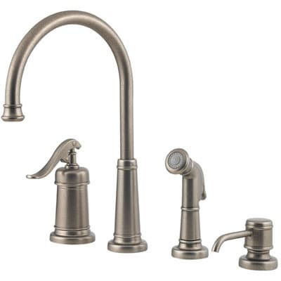 pewter kitchen faucet drop in sink shop price pfister ashfield rustic free shipping today overstock com 2579712