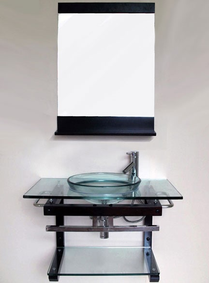 Solid Wood Wallmount Glass Sink Vanity and Shelf