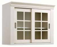 White Wall Storage Cabinet with Sliding Glass Doors ...