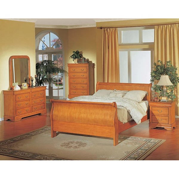 oak sleigh bedroom sets Louis Philippe Oak 5-piece Queen Sleigh Bedroom Set - 11394413 - Overstock.com Shopping - Big