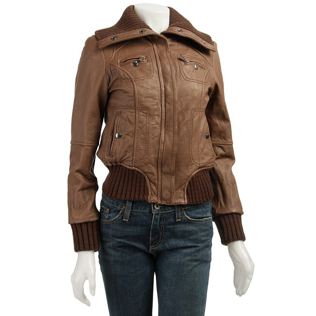MICHAEL Michael Kors Womens Leather Bomber Jacket  Free