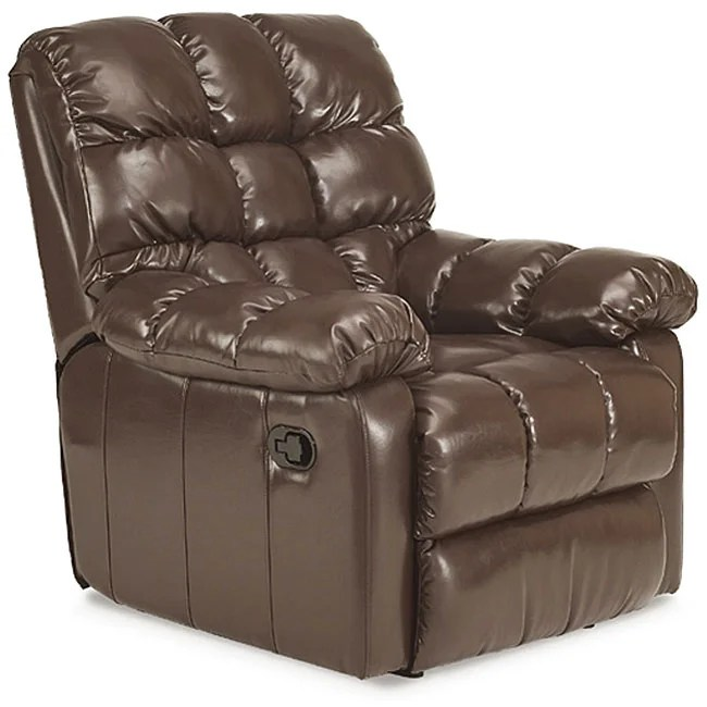wall hugger recliner chair rocking diy plans shop saddle brown leather free shipping today overstock com 3664311