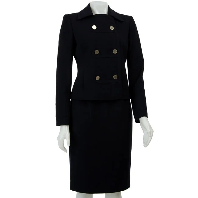 Calvin Klein Womens Navy Doublebreasted Skirt Suit