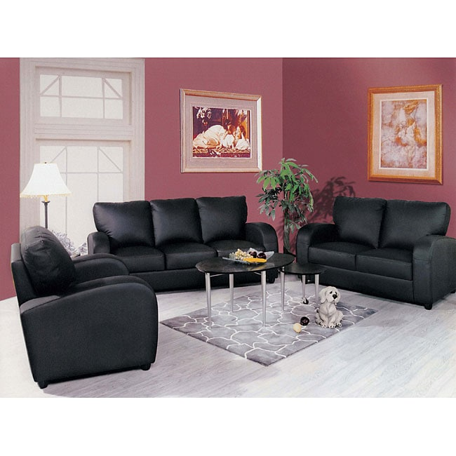 3 piece black leather living room set interior design ideas for small rooms uk shop contemporary free