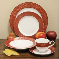 Mikasa Parchment Red 40-piece Dinnerware Set (Service for ...
