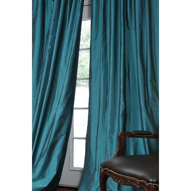 Exclusive Fabrics Faux Silk Signature Teal 108 Inch Curtain Panel