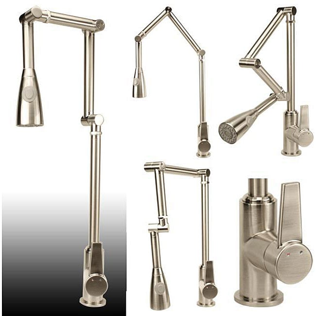 articulating kitchen faucet swinging doors residential shop geyser brushed nickel free shipping today overstock com 4334826
