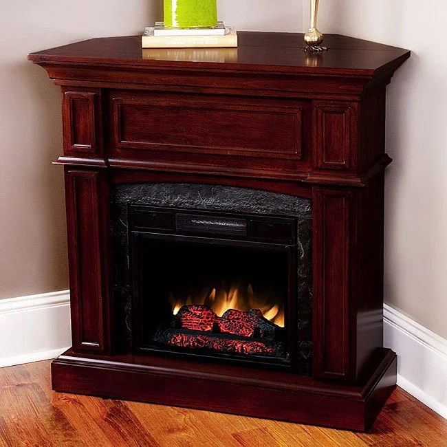 Corner Electric Fireplace With Mantel Cherry 18-inch Corner Combo Electric Fireplace Mantel