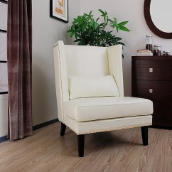 White Leather Wingback Chair Benefits Of Yoga Shop Malia Cool Free Shipping Today Overstock Com 4470826