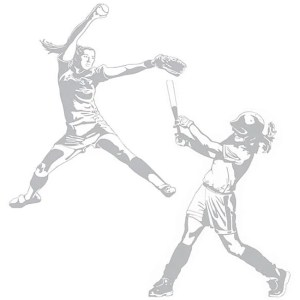 Softball Pitcher and Hitter Sudden Shadows Wall Decal Set