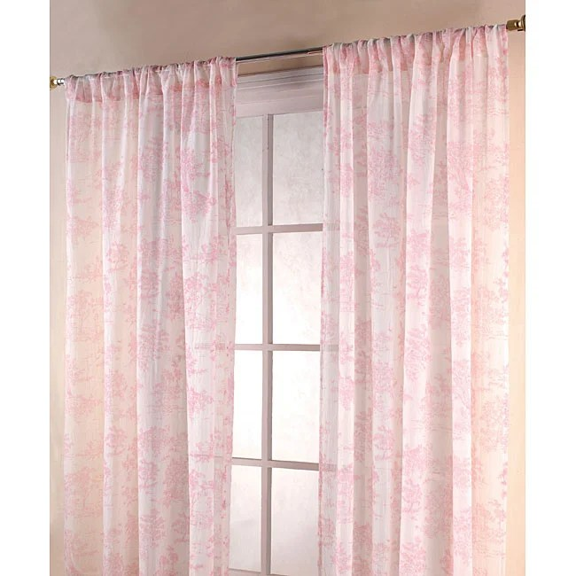 Vintage Pink White 84 Inch Toile Sheer Curtain Panels Free