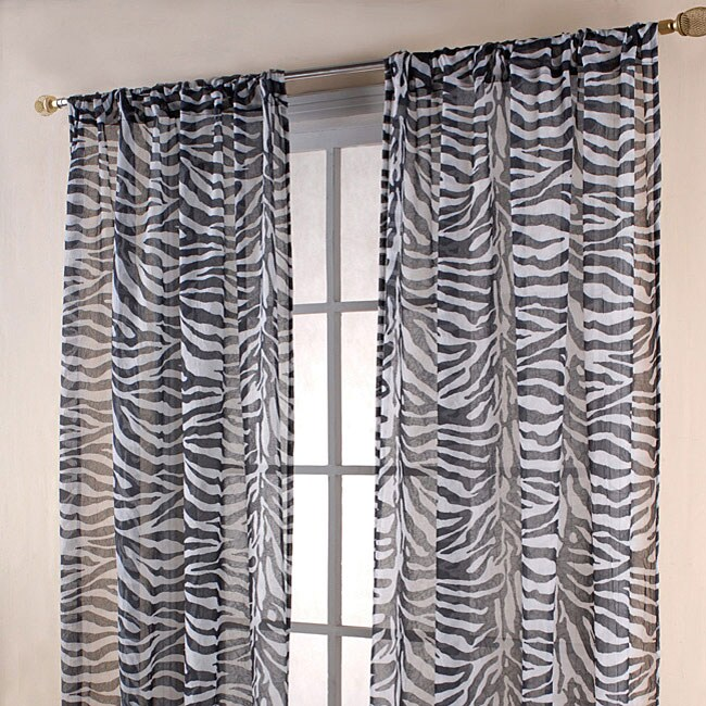 Zebra Print Black White Sheer 84 Inch Curtain Panels Free Shipping On Orders Over 45