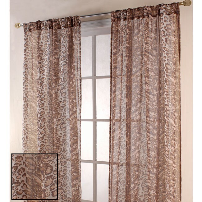 Leopard Print 84 Inch Sheer Curtain Panel Pair Free Shipping On Orders Over 45 Overstock