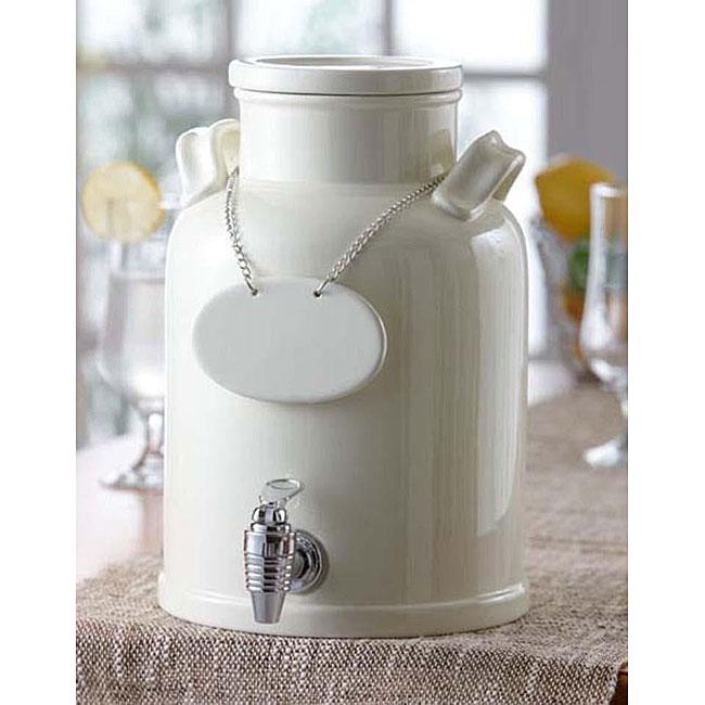 American Atelier 240oz White Ceramic Beverage Dispenser