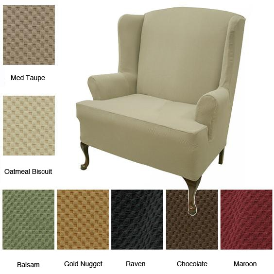 sure fit wing chair cover black linen covers loveseat stretch slipcover - free shipping today overstock.com 13028566