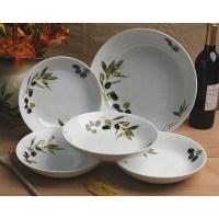 Lorenzo 5-piece Tuscan Olive Porcelain Pasta Bowl Set ...