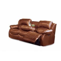 Double Reclining Sofa With Fold Down Table Modern Italian Bonded Leather Power Massage - Free ...