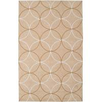Hand-tufted Contemporary Beige Retro Chic Green Geometric ...