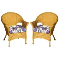 Pia Floral All-weather Outdoor Purple Wicker Chair ...