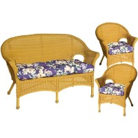 Pia Floral Purple Wicker Chair and Love Seat Cushions (Set ...
