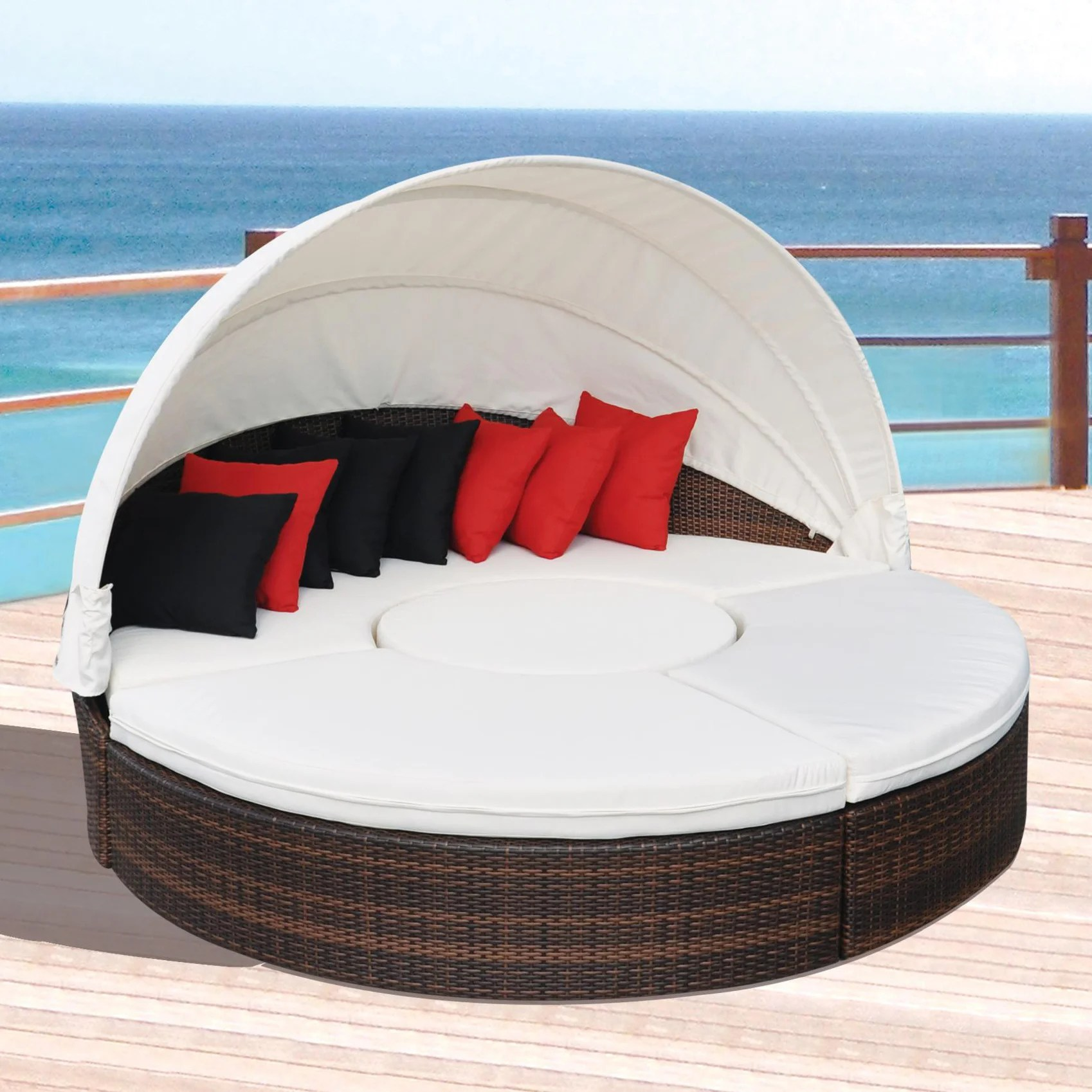 canopy daybed outdoor wicker sun sofa lounge loveseat set all weather espresso sectional