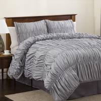 Look for Less Alert: Gray Ruched Comforter | Brooklyn ...