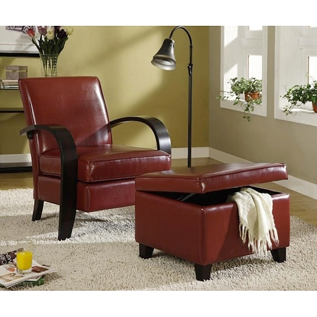 chairs with storage ottoman wicker outdoor uk shop burgundy bonded leather chair and free shipping today overstock com 6226356
