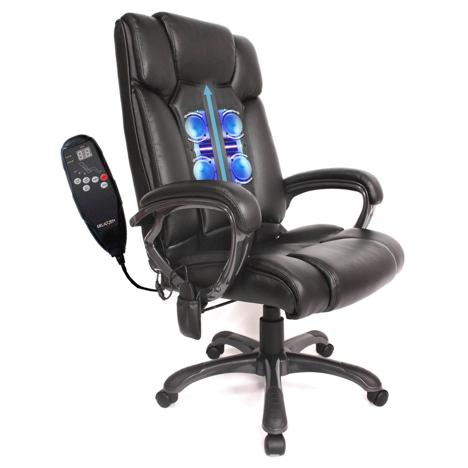 Office Chair Massager Comfort Products Rolling Shiatsu Massage Bonded Leather