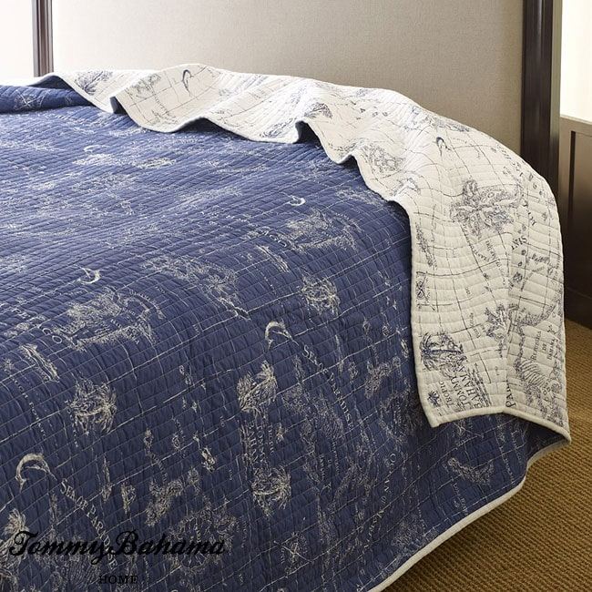 Tommy Bahama Map Print Navy 3 Piece King Size Quilt Set